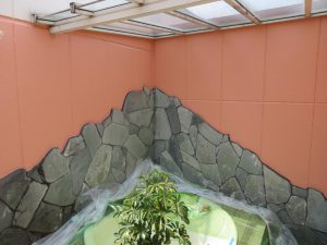 福山市 ホテル屋外風呂場塗装(2015年2月)