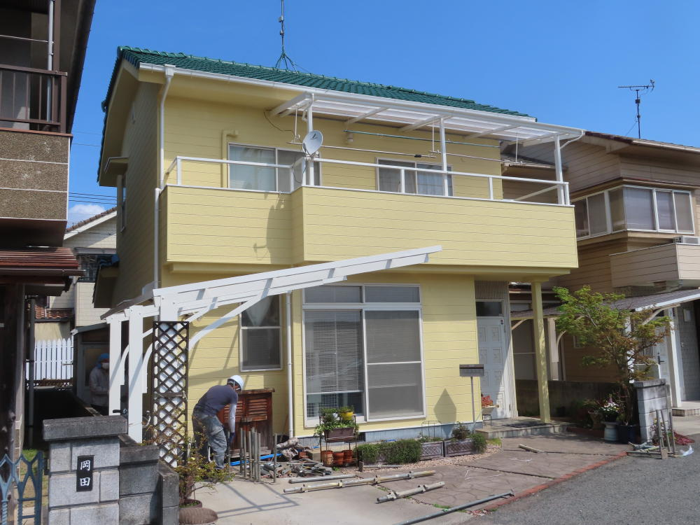 福山市御幸町T様邸 屋根(モニエル瓦)外壁塗り替え工事